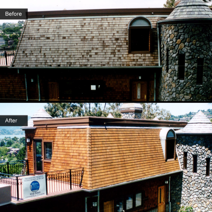 Before and After - Cedar shingles - Cedar Gold Blend