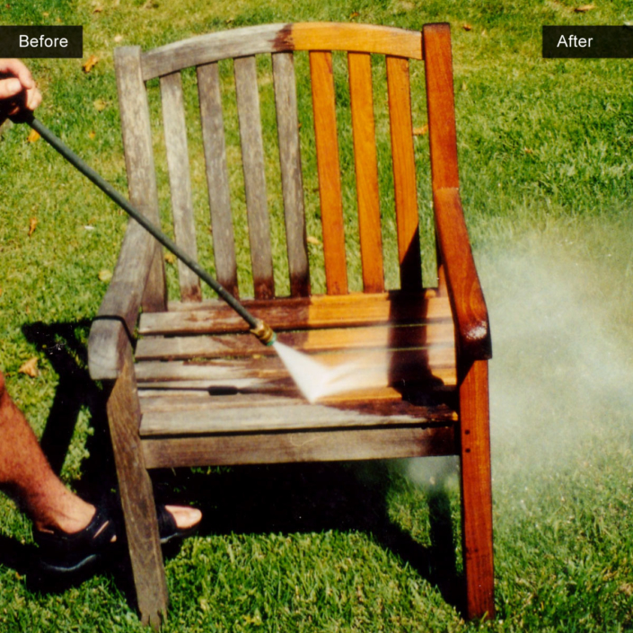 Before and After - Power Washing Teak Furniture
