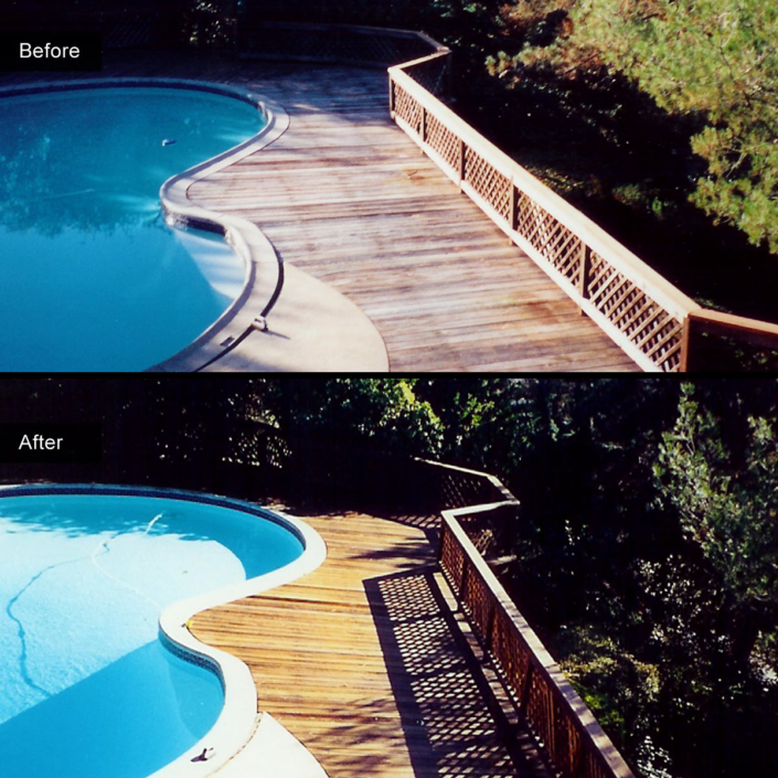 Before and After - Twenty five year old redwood deck