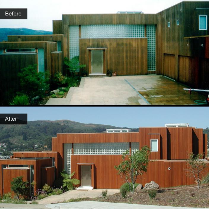 Before and After - Vertical grain cedar gold blend