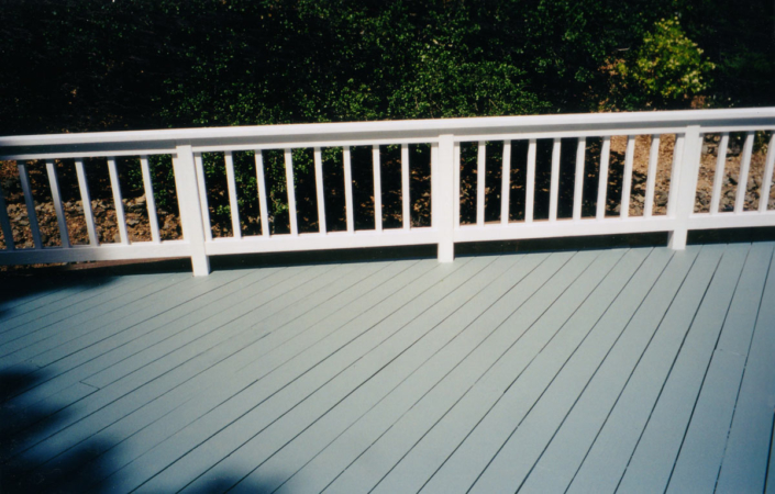 Blue Gray Solid Acrlylic Deck Painted with Cabots Solid Decking Stain
