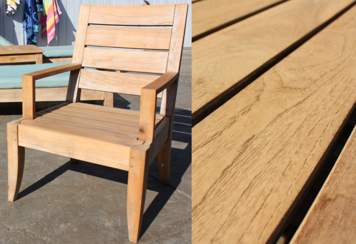 Teak furniture treated with Semco stain, color light honey…our favorite